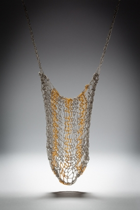 Rhéa knitted chain bicolor silver and gold