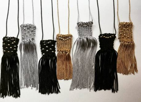 Textile necklaces collection with viscose threads and beads