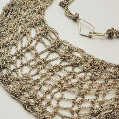 Knitted neckalce silver plated
